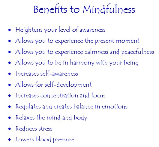 Benefits of Mindfulness List